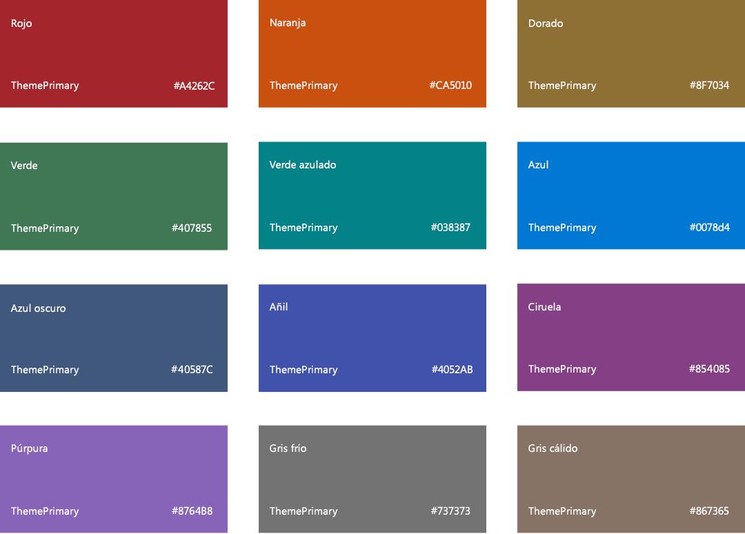 Colores y temas de sharepoint microsoft docs - Paleta de colores neutros ...