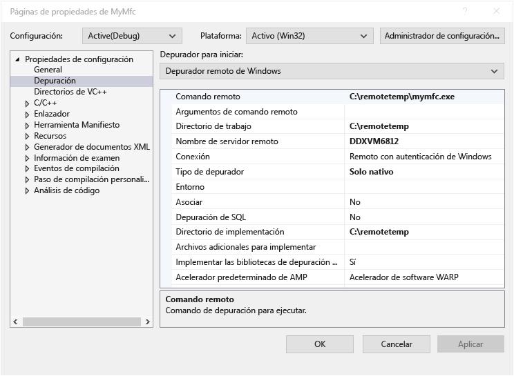 Depuración remota de un proyecto de Visual C++ | Microsoft Docs