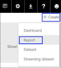 Cortana en el trabajo mostrando dónde crear el nuevo informe