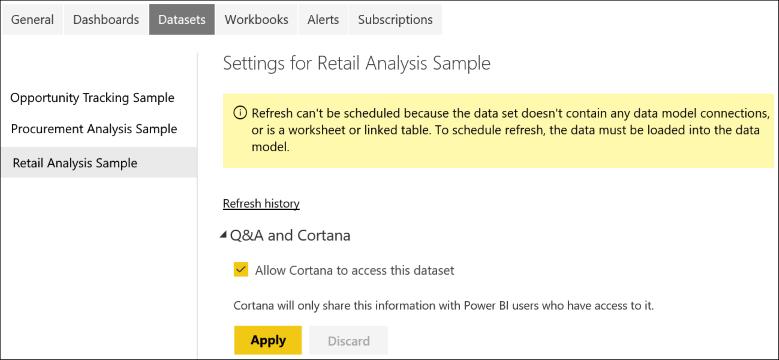 Cortana en el trabajo mostrando dónde se encuentran las opciones del conjunto de datos
