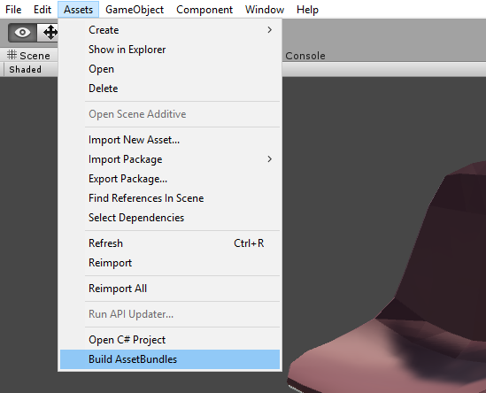 From the Assets menu, select 'Build AssetBundles' to generate file.