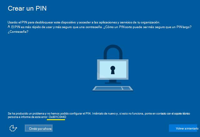 Errores de Windows Hello durante la creación de PIN ...