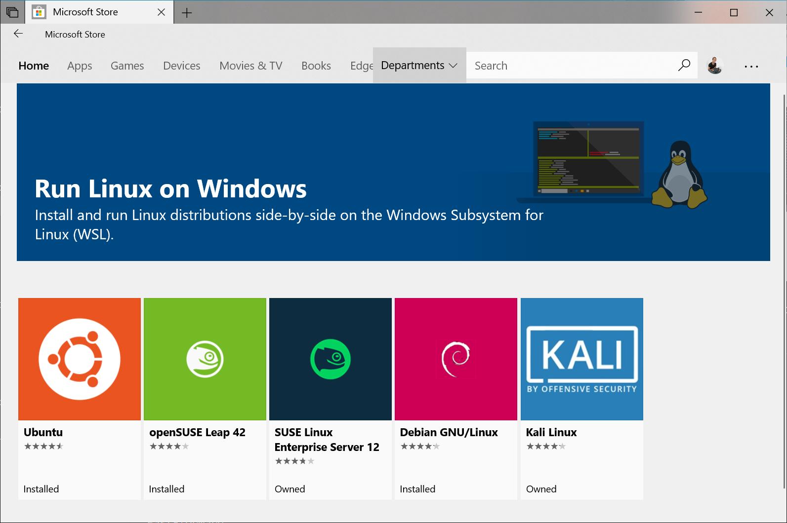 Vista de distribuciones de Linux en el Microsoft Store