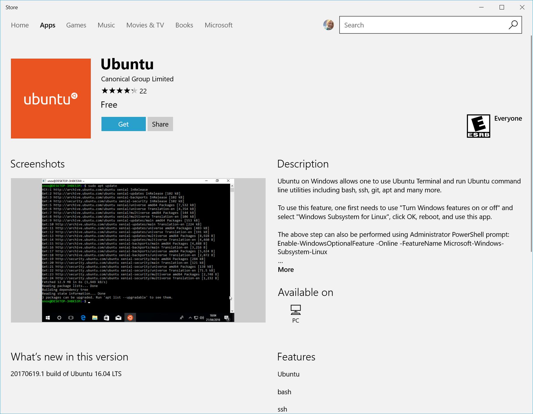 Vista de distribuciones de Linux en Microsoft Store
