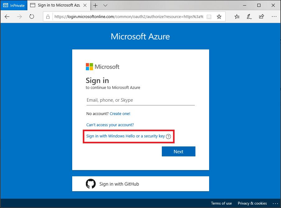 Inicio de sesión en Microsoft Edge con una clave de seguridad