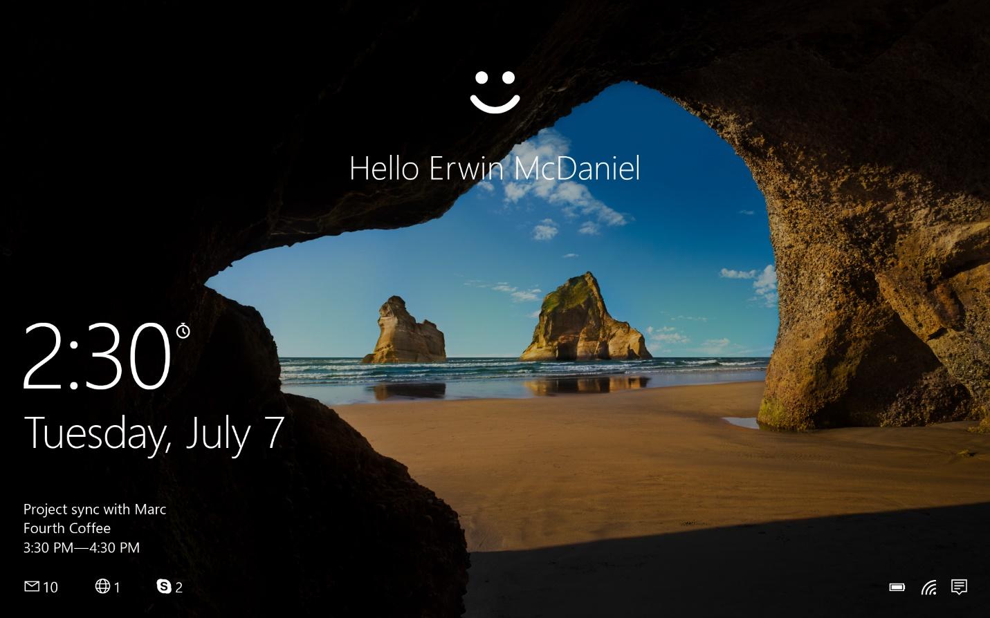 Ejemplo de inicio de sesión de un usuario con WindowsHello para empresas