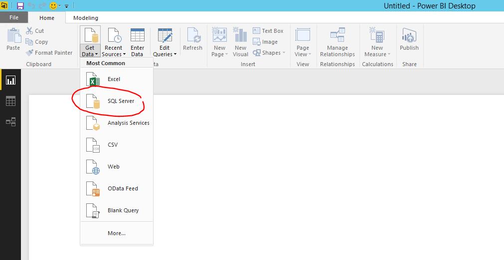 get data menu in power bi desktop