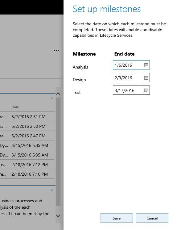 set up milestones dialog box