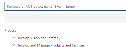 when you search for an aot element prefix it with a dollar sign for example enter custtable in the search box