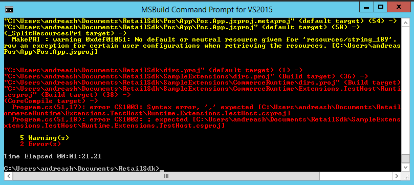 Screenshot of MSBuild command prompt with sample code