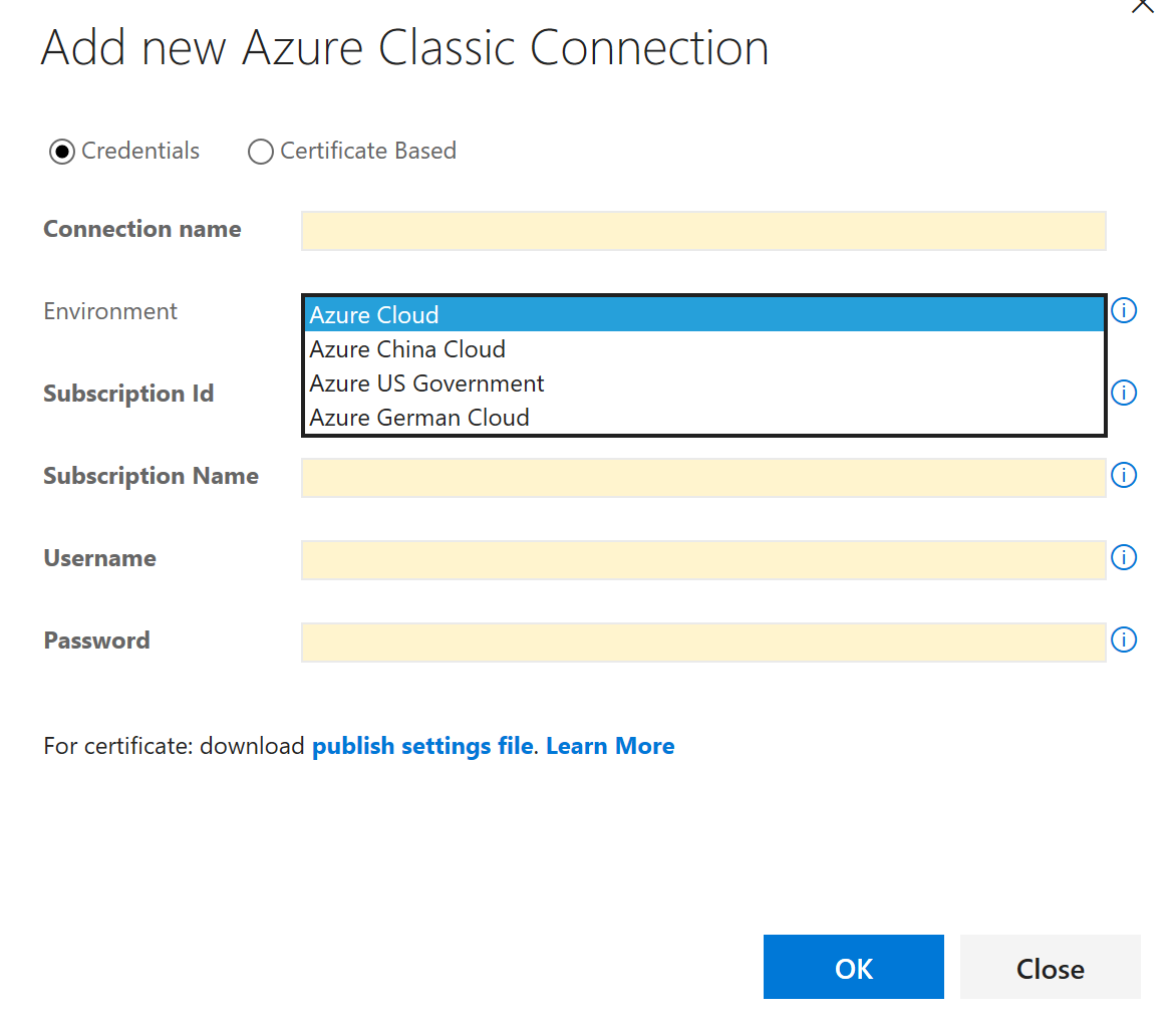 Connect to azure government from visual studio team services figure 2 azure classic endpoint xflitez Images