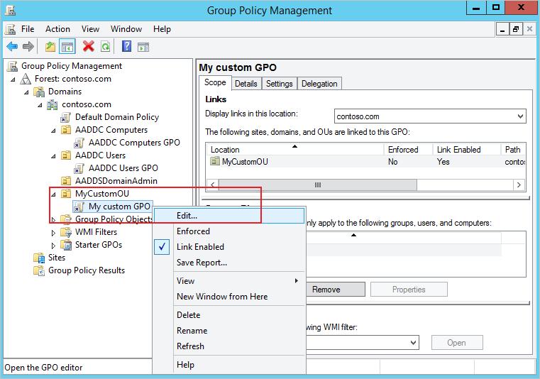 Objets de stratégie de groupe Active Directory