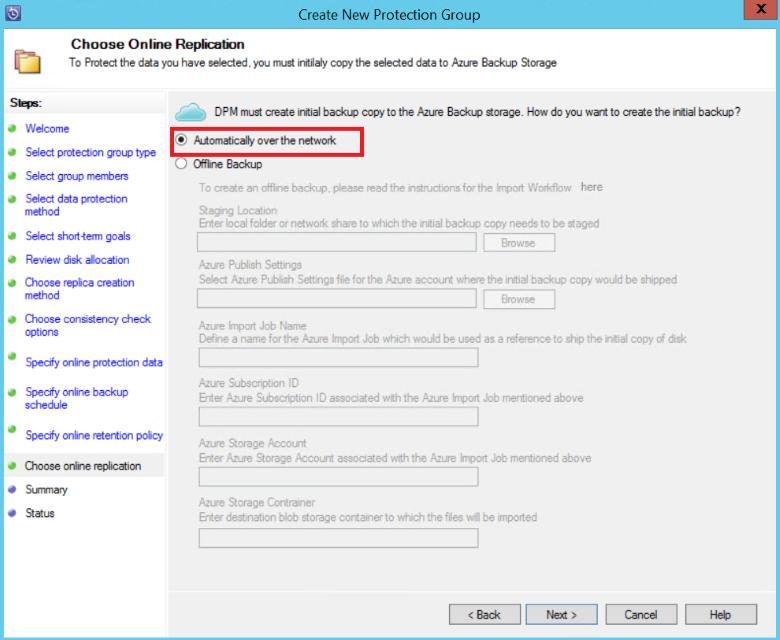 windows azure resume protection du serveur dpm de sauvegarde