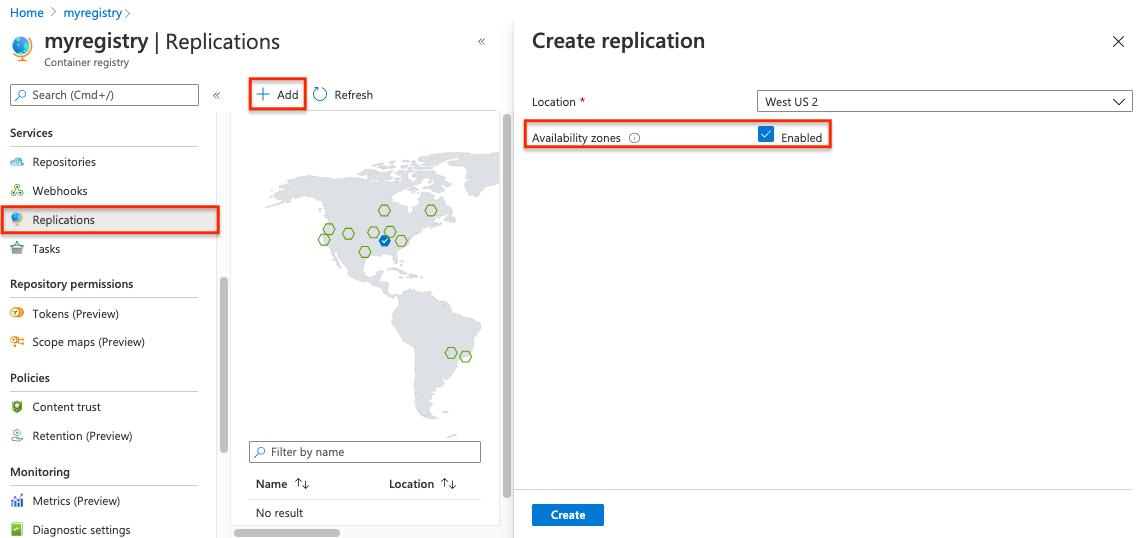enable availability zones replication portal - La haute disponibilité d'un Azure Container Registry