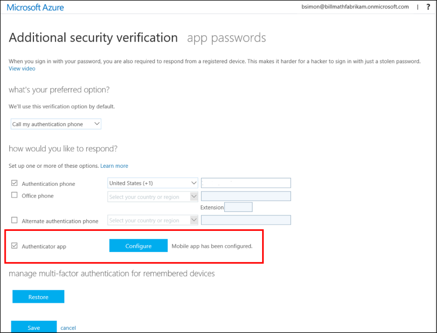 Le bouton Configurer sur l'écran des paramètres de vérification de la sécurité.