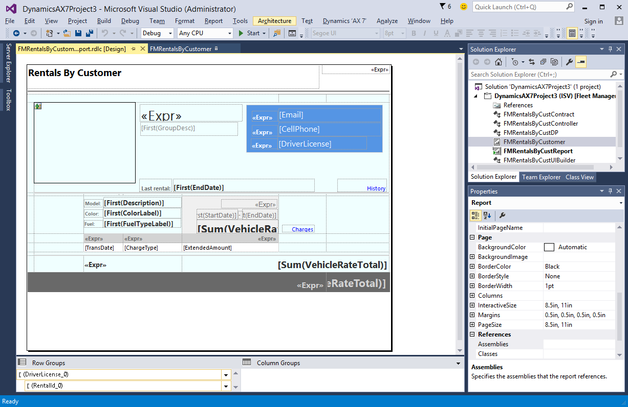 The above is a screen-shot of the FMRentalsByCustomer report design  definition as viewed using the Visual Studio 2015 Precision Designer.