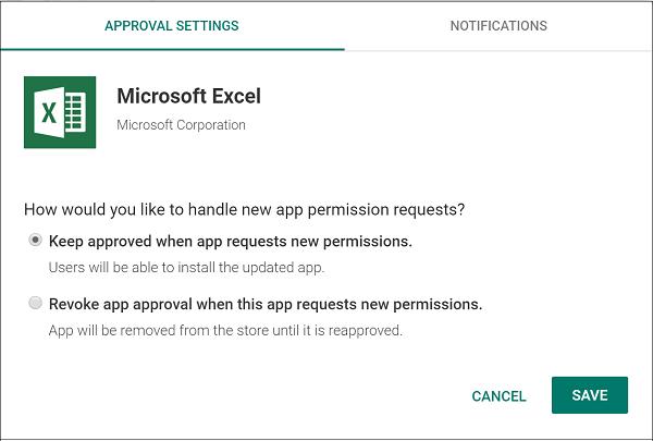 Options de gestion des nouvelles demandes d'autorisation d'application