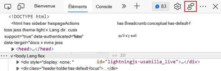 Pictograma segregare în Microsoft Edge DevTools