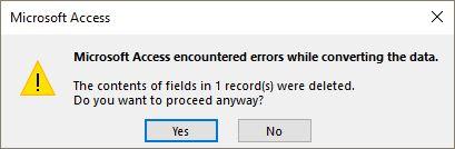 si sono verificati degli errori durante la conversione dei dati