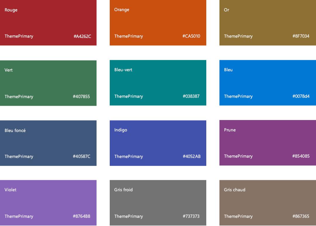Thèmes Et Couleurs Sharepoint Microsoft Docs