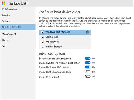 Gérer les paramètres UEFI Surface (Surface) | Microsoft Docs