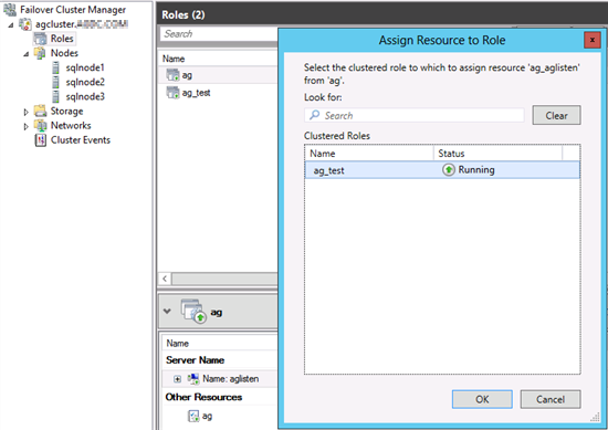Captura de pantalla de la asignación de un origen a un rol, con la adición de un nuevo grupo de disponibilidad mostrado.
