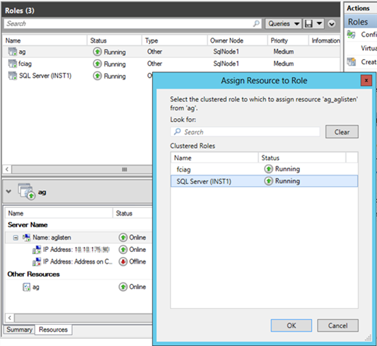 Captura de pantalla del cuadro de diálogo asignar recurso a rol.