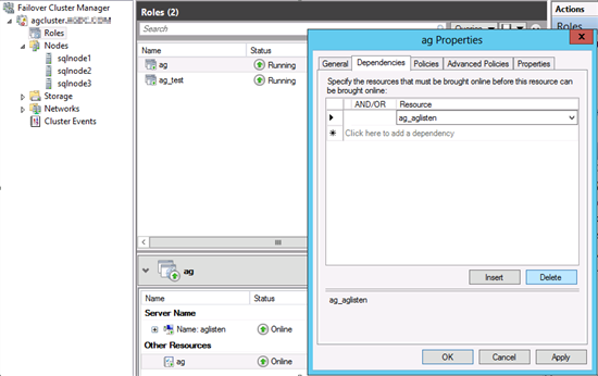 Captura de pantalla de la pestaña de dependencias de las propiedades del grupo de disponibilidad.