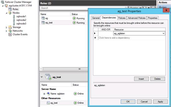 Captura de pantalla de la pestaña de dependencias de las propiedades del nuevo grupo de disponibilidad.