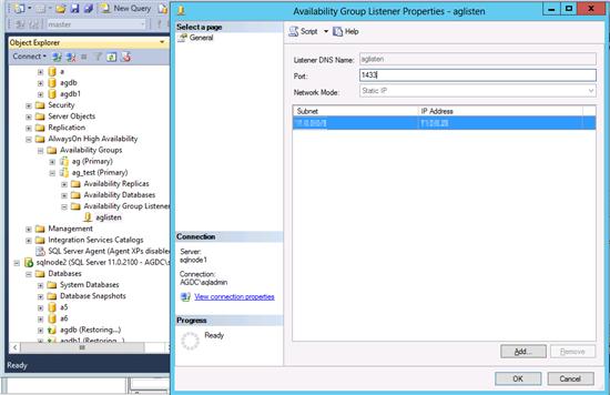 Captura de pantalla de las propiedades del Listener del Grupo de Disponibilidad, mostrando la configuración del listener