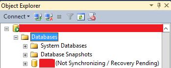 Captura de pantalla de la base de datos que no está en estado de sincronización/recuperación.
