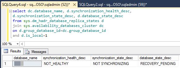 Captura de pantalla del resultado de la ejecución del script para comprobar el estado de la sincronización e integridad de la base de datos.