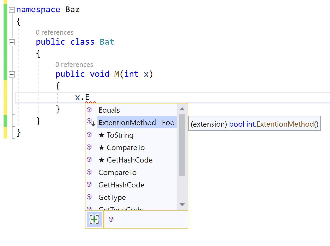 IntelliSense completion for unimported extension methods