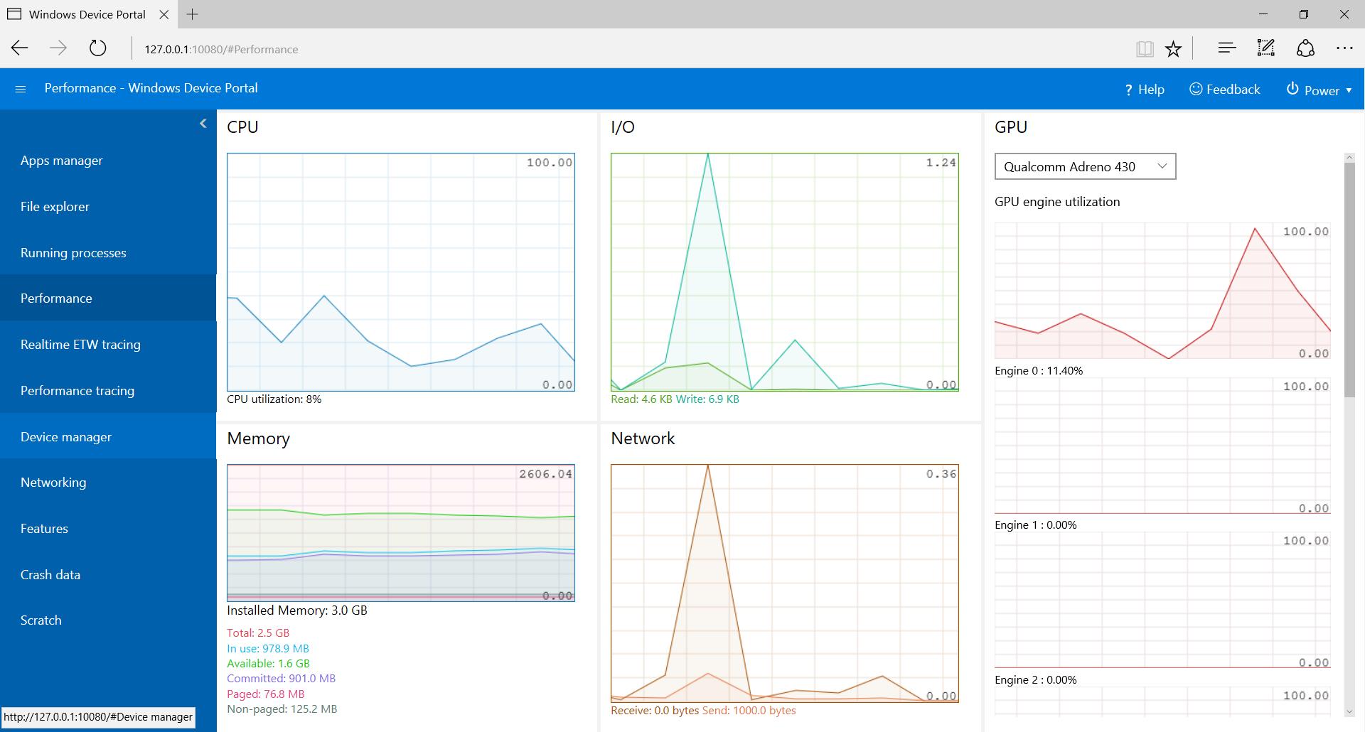 Vue d ensemble de windows device portal uwp app for Window design tool