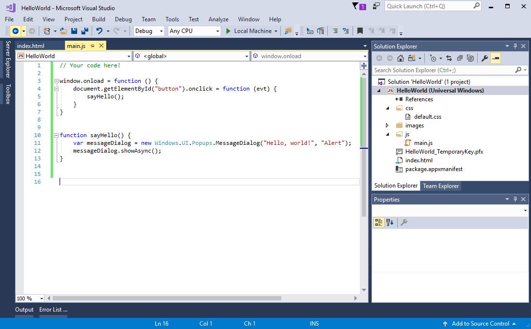 Creer Une Application Hello World Js Uwp App Developer