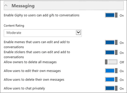 Screenshot of the Messaging section.