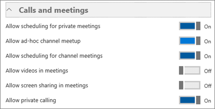 Screenshot of the Calls and meetings section.