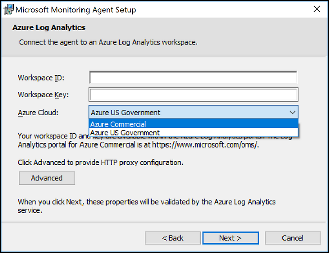 Log Analytics Agent setup page for connecting agent to an Azure Log Analytics workspace