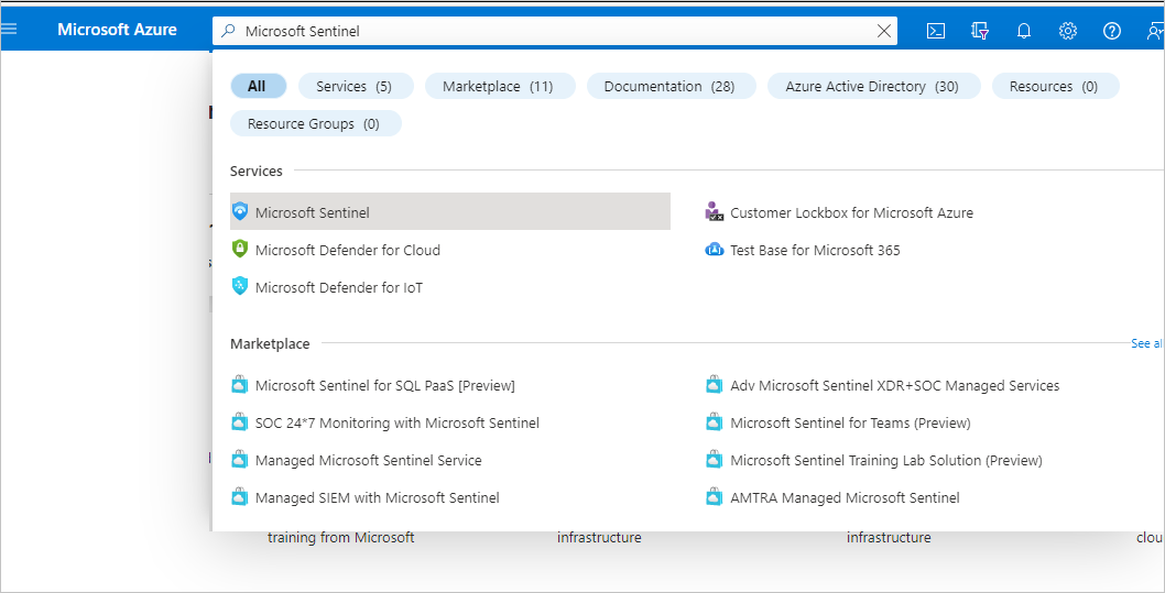 "In the Azure portal search for the term ""Azure Sentinel"""