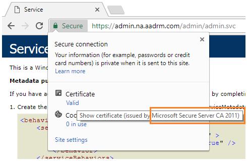 Controllo del certificato emesso per le connessioni di Azure Information Protection