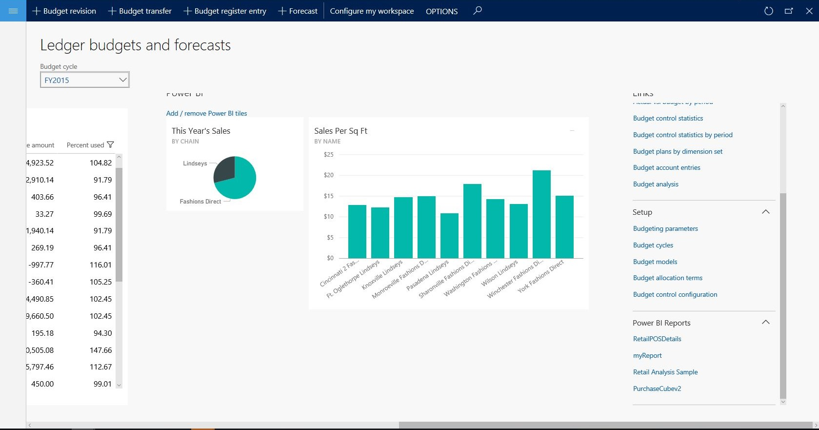Power bi reports section in the links section