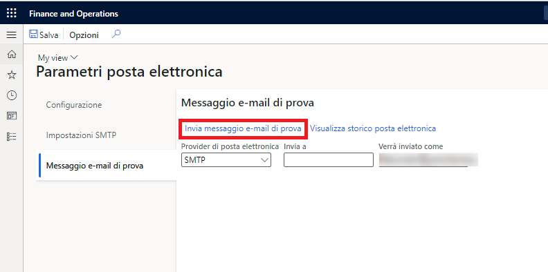 Screenshot of the Test email tab highlighting the Send test email button.