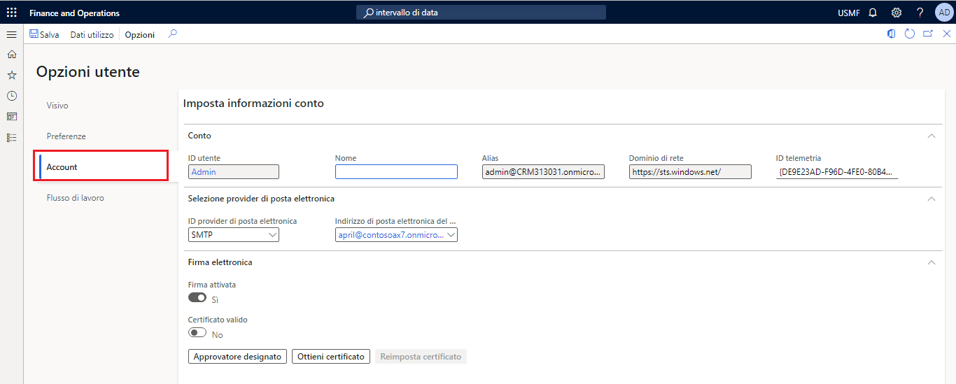 Screenshot of Account option in the User options page.