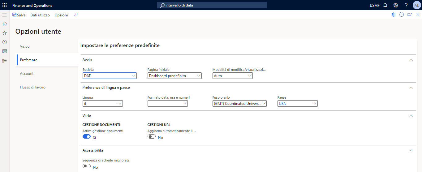 Screenshot of the Preferences option in user options.
