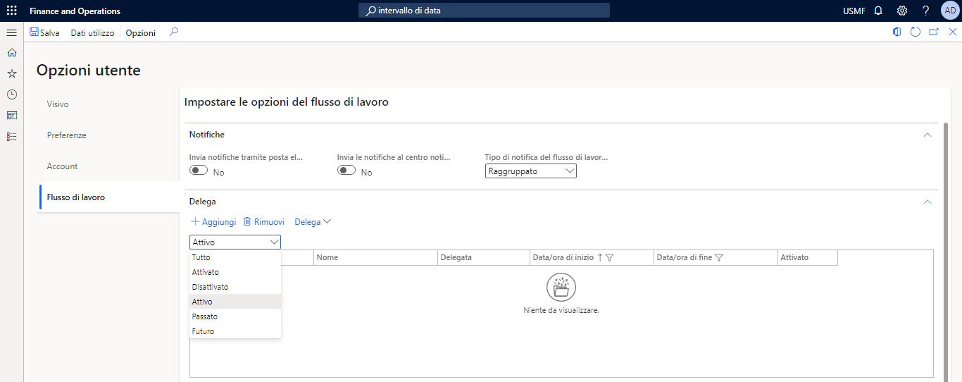 Screenshot of Workflow option in the User options page.