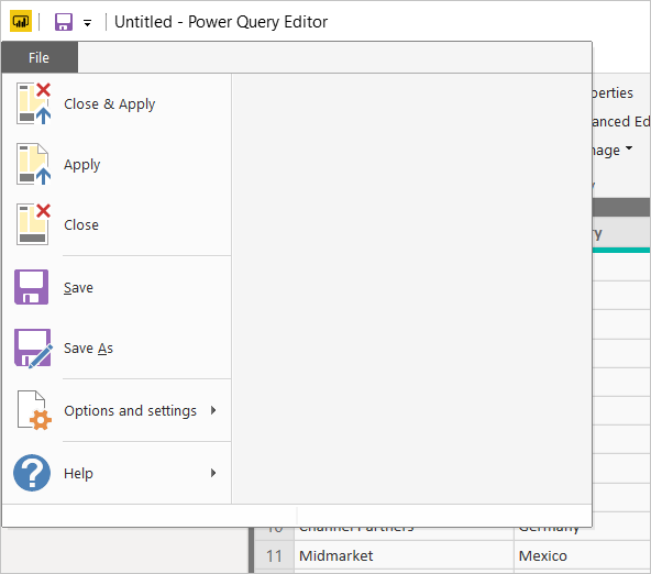 Screenshot of Power B I Desktop showing Power Query Editor File tab.