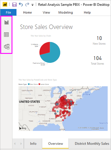 Screenshot di Power BI Desktop che mostra il pannello con tre viste.
