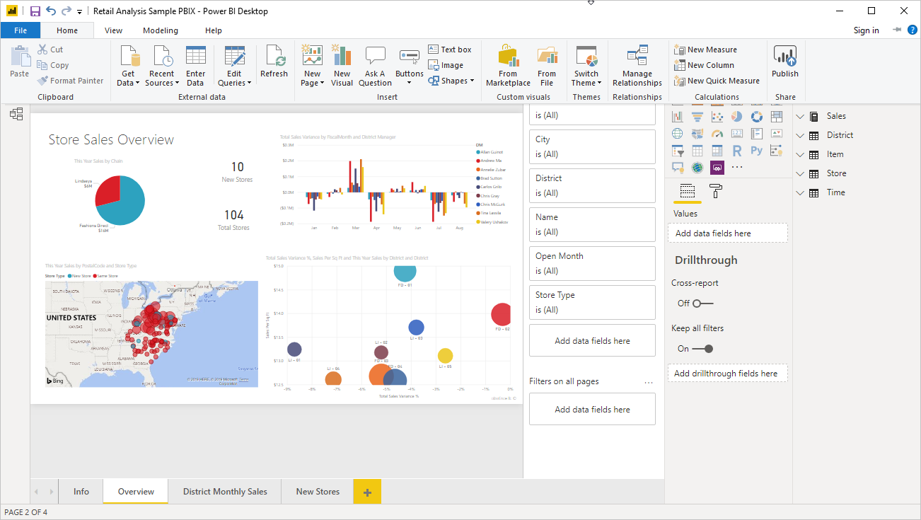 Screenshot di Power BI Desktop che mostra dati di esempio.