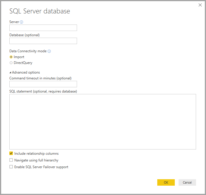 Screenshot di Power BI Desktop che mostra la finestra di dialogo Database di SQL Server.