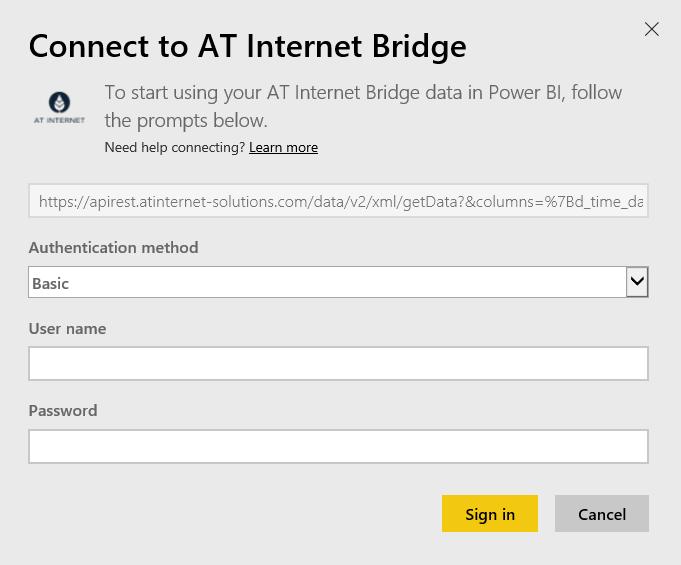 Connettersi ad AT Internet Bridge con Power BI - Power BI